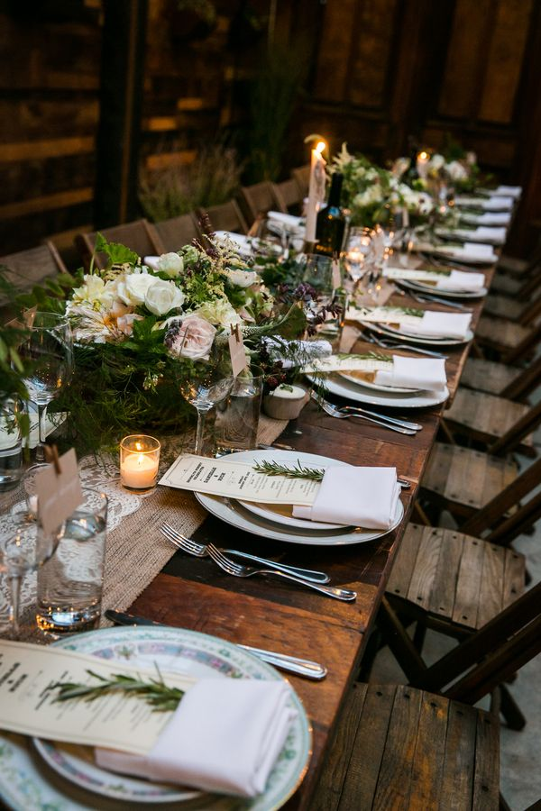 Reclaimed Barnwood Farm Tables for an Intimate Family-Style Rustic Urban Wedding Reception | Kelly Williams, Photographer | http://heyweddinglady.com/romantic-rustic-urban-wedding-at-brooklyn-winery/