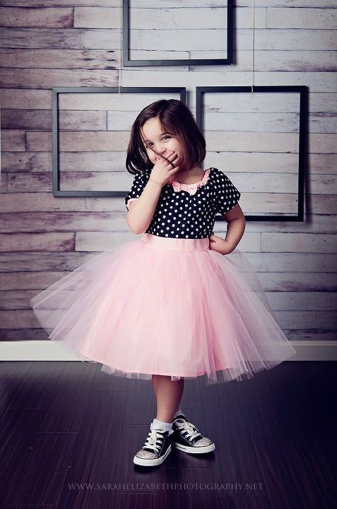 So Shyloh :) TUTU DRESS in black polka dot Pink tulle skirt for baby toddler girl .. holiday birthday party portrait flower special $47.00, via Etsy.