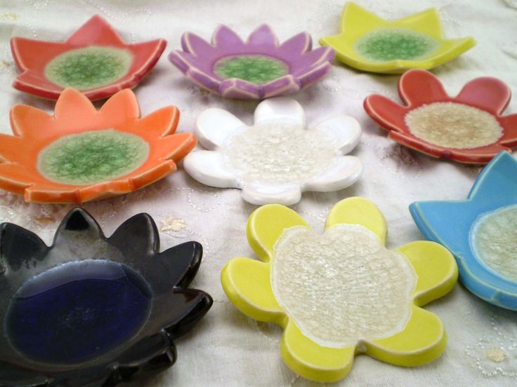 9 #Ceramic #Flower Dishes, Trinket Holders, Candle Holders, Tea Bag Holders, Spoon Rests, #Christmas Gift by spinningstarstudio on Etsy