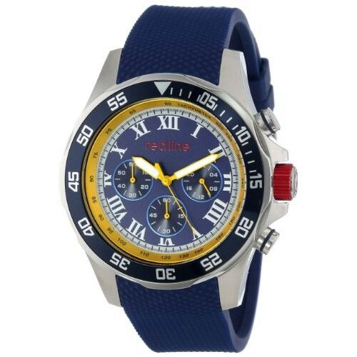 Men's RL-60026 Stainless Steel and Blue Textured Silicone Watch