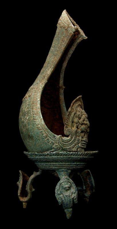 Khmer Bronze Ritual Conch & Tripod Stand | Londoncoin.com