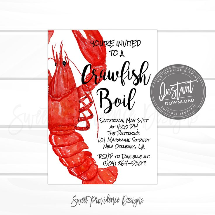 Crawfish Boil Invitation, Any Occassion Crawfish Boil