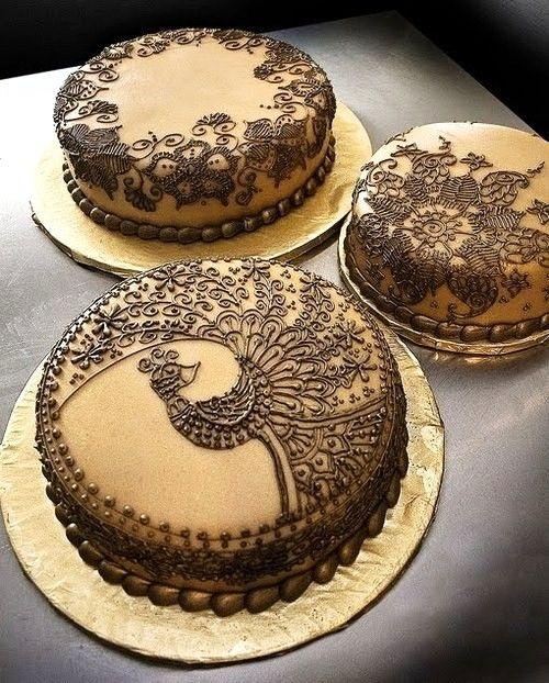 mehndi peacock cake.  lovely.