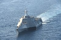 161208-N-SI773-0428 PACIFIC OCEAN (Dec. 8, 2016) The littoral combat ship USS Independence (LCS 2) is underway  off the coast of San Diego. (U.S. Navy photo by Mass Communication specialist 1st Class Ace Rheaume/Released)