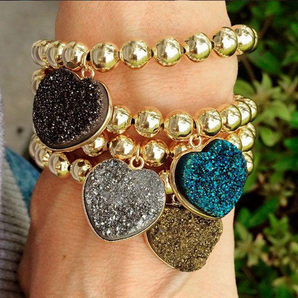 Bracelets By Vila Veloni Heart Druzy Stone