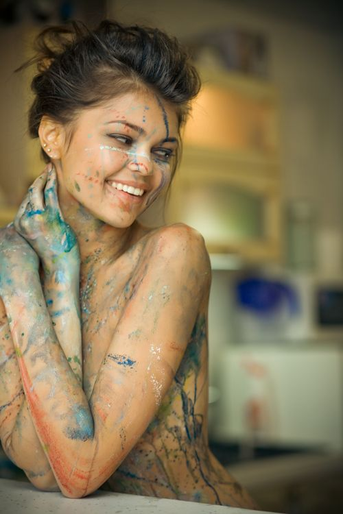 Painting, especially water colour. : Picture, Girls, Sexy, Color, Beautiful, Art, Beauty, Body Paint, Photography