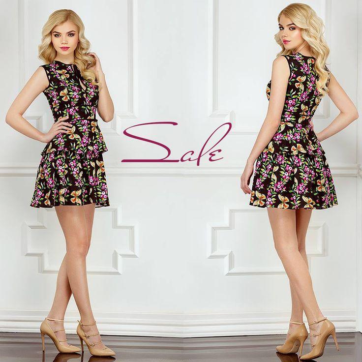 Short elegant dress with floral print and ruffles on sale: https://missgrey.org/en/dresses/short-day-dress-floral-print-and-ruffles-capri/504?utm_campaign=mai&utm_medium=rochie_capri&utm_source=pinterest_produs