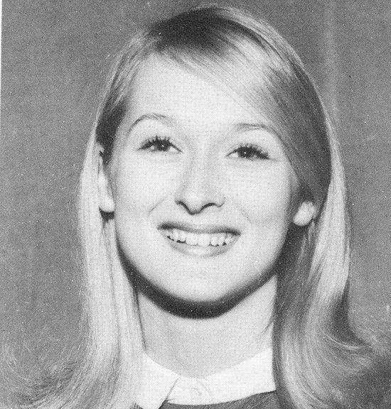See Meryl Streep in Her High School Cheerleading Days!: Meryl Streep's birthday is on Monday, and in honor of the megastar turning 66, we thought we'd take a look back — way back — to her high school days of prom and pompoms!