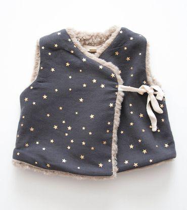 Talc Baby Faux Fur Vest, Dark Grey/Star