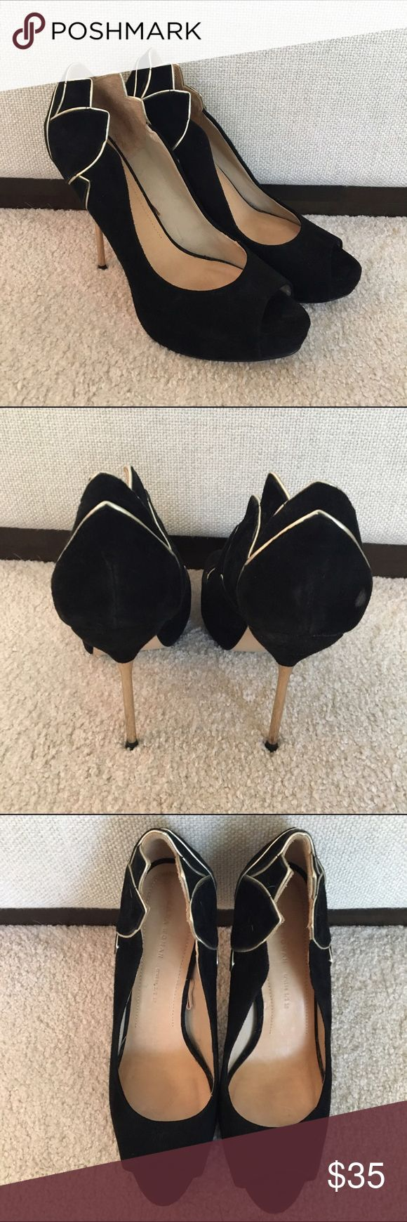 Zara Black Gold peep toe heels Excellent condition. Small area on right heel where the suede has rubbed off. No box Zara Shoes Heels