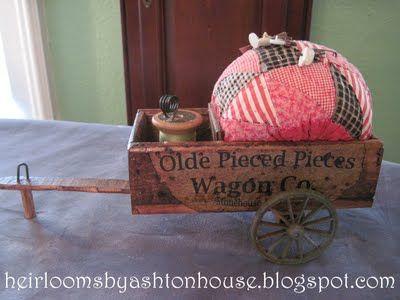 pin cushion in wagon... beautiful quilting site: Quilting Pincushions, Embroidery Pincushions, Lil Pincushions, Favorite Pincushions, Sewing Pincushions, Love Pincushions, Pincushions Needlebooks, Handmade Pincushions