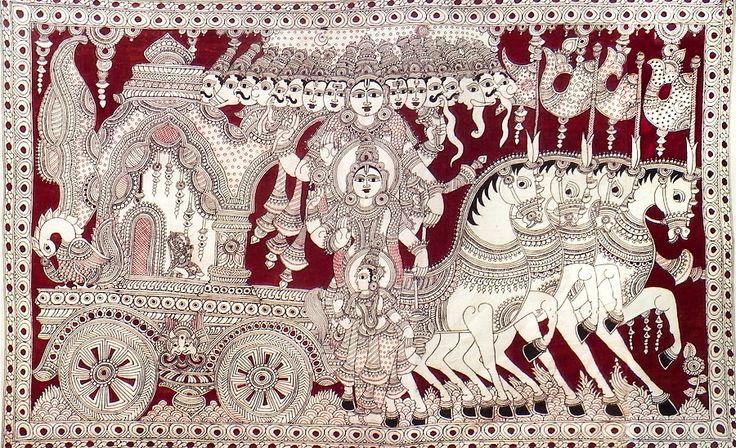 Krishna Showing His Vishvarupa to Arjuna During the Kurukshetra War of Mahabharata (Kalamkari Paintings on Cotton - Unframed))