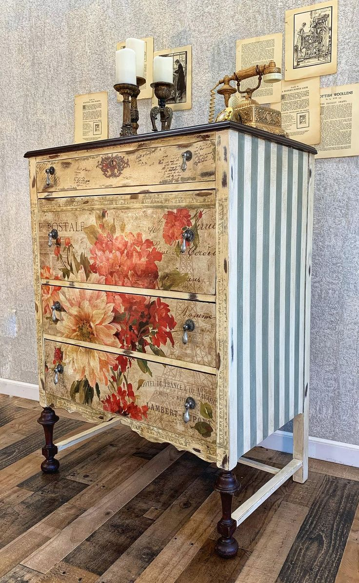 Sold Hand Painted Antique Floral Dresser Painting Wooden Furniture Painted Furniture Diy Furniture