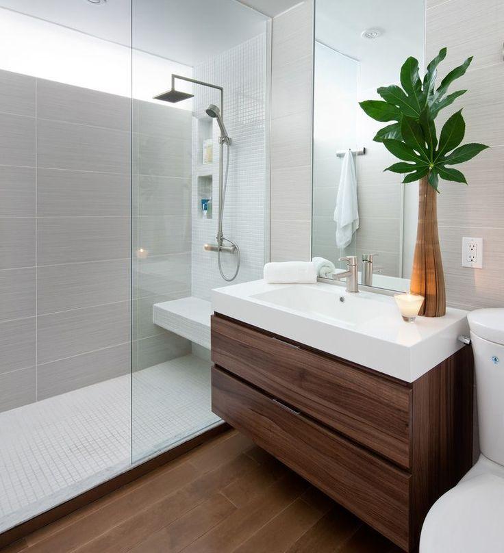 sa salle petite salle bain salle de bain italienne carrelage carrelage gris carrelage douche douche italienne bain italienne grand miroir - Carrelage Douche Salle De Bain