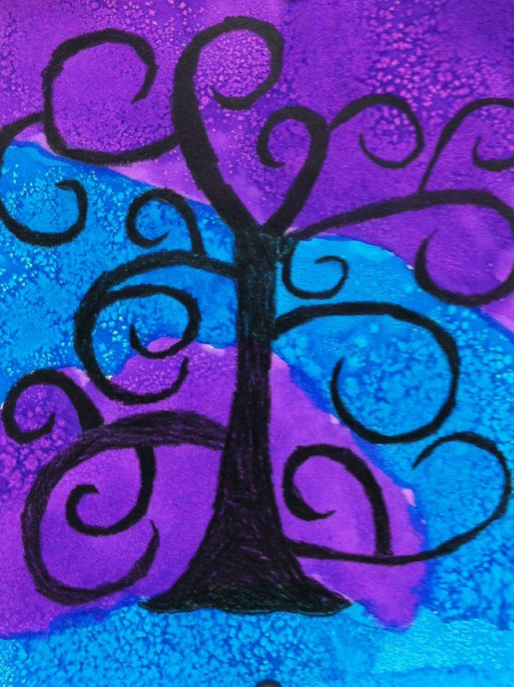 Tim Burton inspired trees. Crayon, liquid water colors, and salt.