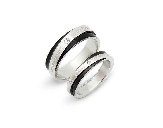 Lovely Matching Set titanium Wedding Band Ring mm mm Custom Engraved His and Hers promise rings Valentine us