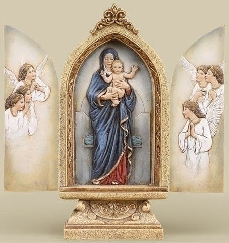 Madonna And Child With Angels Triptych Statue – Beattitudes Religious Gifts