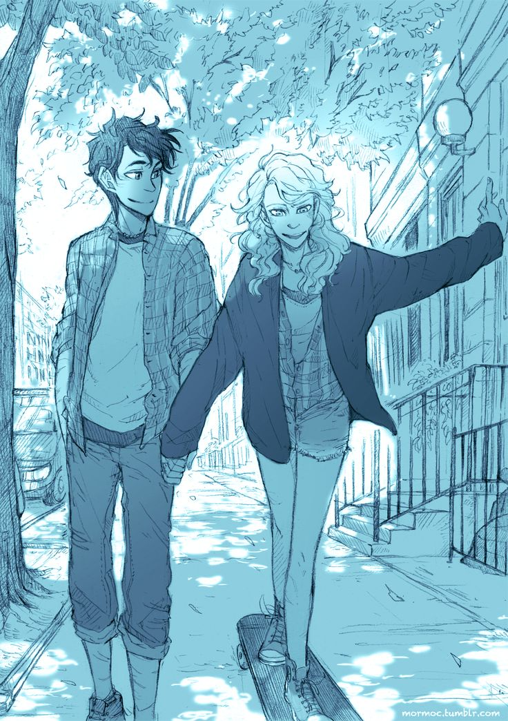 "mormoc: "" I finished this one. Percy teaches Annabeth how to skate at the eighty-second street. I 've been drawing it with this song. The lyrics has a different vibe. but I love the melody :) This is..."
