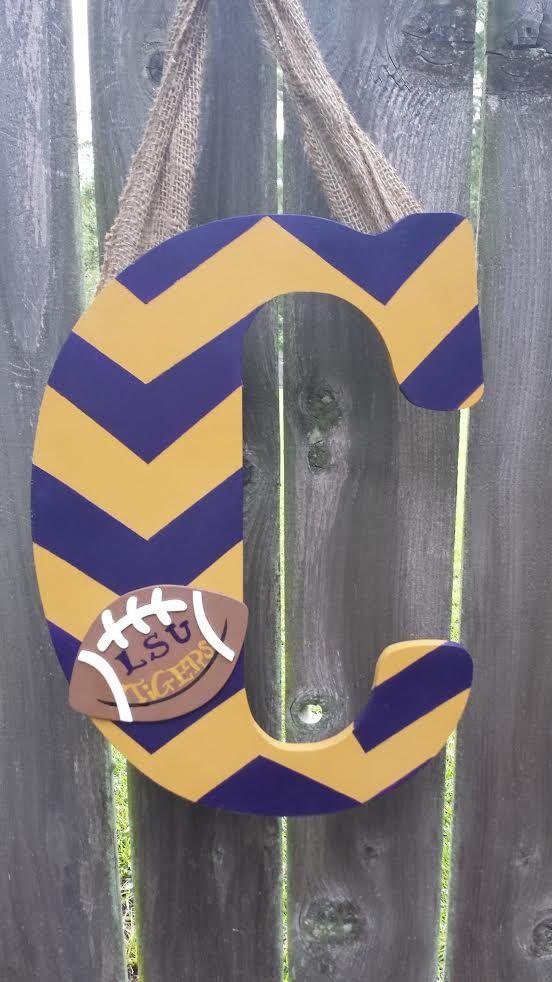 """18"""" Wooden LSU Monogrammed Door Hanger by LittleMRCreations on Etsy"""