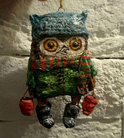 Ёлочная игрушка Совенок с варежками - новый год 2015,елочная игрушка,игрушка на елку