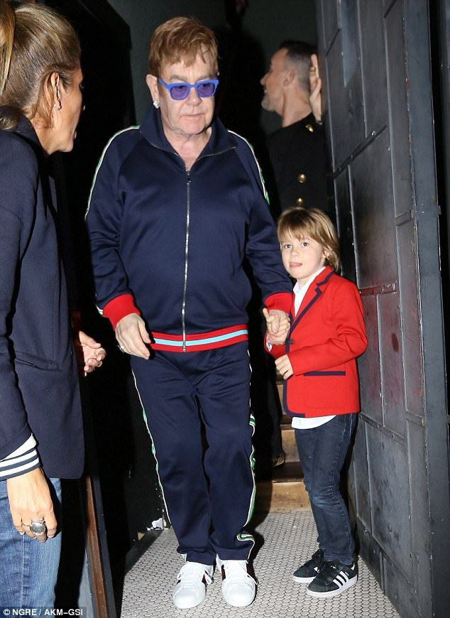 Tiny Dancer: Sir Elton John was joined by husband David Furnish and the oldest of their two sons, six-year old Zachary (pictured), at Lady Gaga's 31st birthday party held at Gjelina restaurant in Venice, California on Tuesday evening