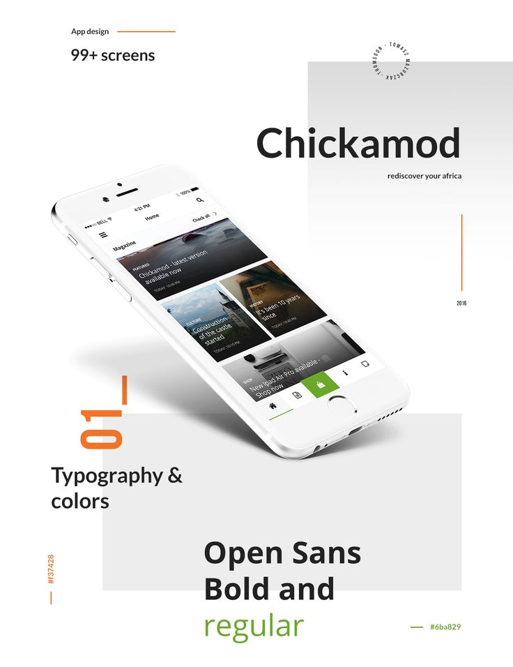 Chickamod App design. Rediscover your africa! Your application with help information about Africa. You can search business, use Shop or contact with your Friends! Check it design!