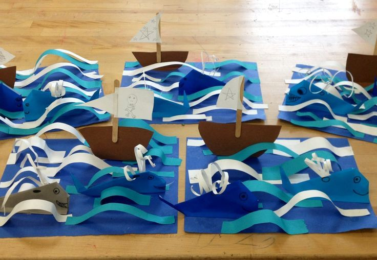 Origami Whales with boat in 3D ocean- elementary art(art teacher: v. giannetto) - maybe use with Columbus Day?