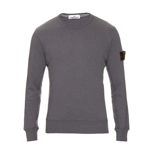 Stone Island Long-sleeved cotton sweatshirt (1.060 DKK) ❤ liked on Polyvore featuring men's fashion, men's clothing, men's hoodies, men's sweatshirts, grey, mens grey sweatshirt and mens short sleeve sweatshirt