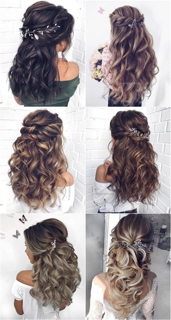 30 Half Up Half Down And Updo Wedding Hairstyles From Mpobedinskaya In 2020 Quince Hairstyles Hair Styles Wedding Hair Inspiration