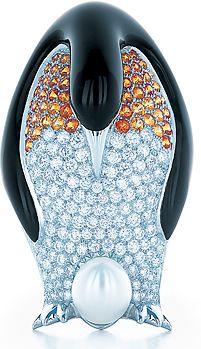 Tiffany & Co. Emperor Penguin brooch in platinum, black lacquer, diamonds, and spessartite garnets.