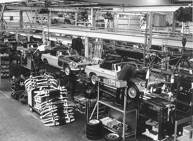 MGB Assembly line by Auto Clasico, via Flickr