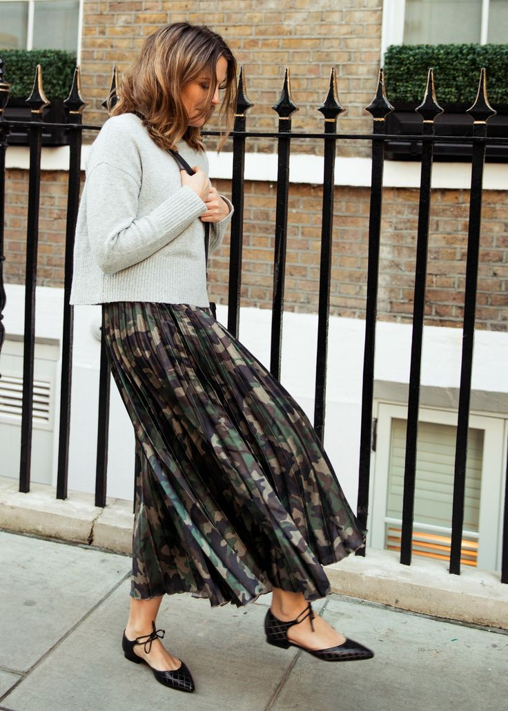 grey cropped knit + camo skirt