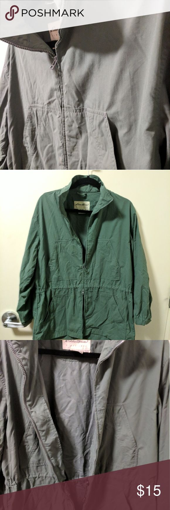 Lightweight Eddie Bauer Jacket This olive green jacket from Eddie Bauer is lightweight with two-way zipfront and 3/4-length sleeves. Adjustable cinched waist. Can unzip from bottom and top. Two sets of front pockets. Not lined. Eddie Bauer Jackets & Coats Utility Jackets