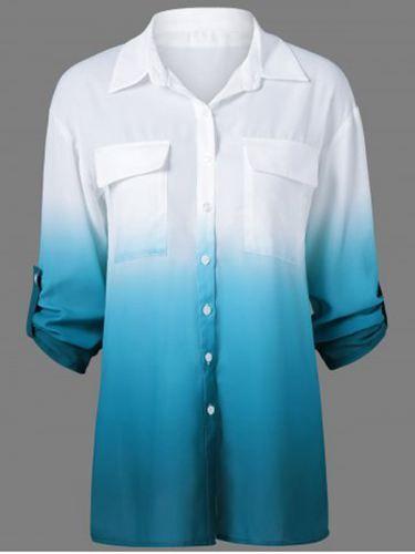 Kleding Online Bestellen - Ombre Klepzakken Overhemd Blauw / Wit - Dames