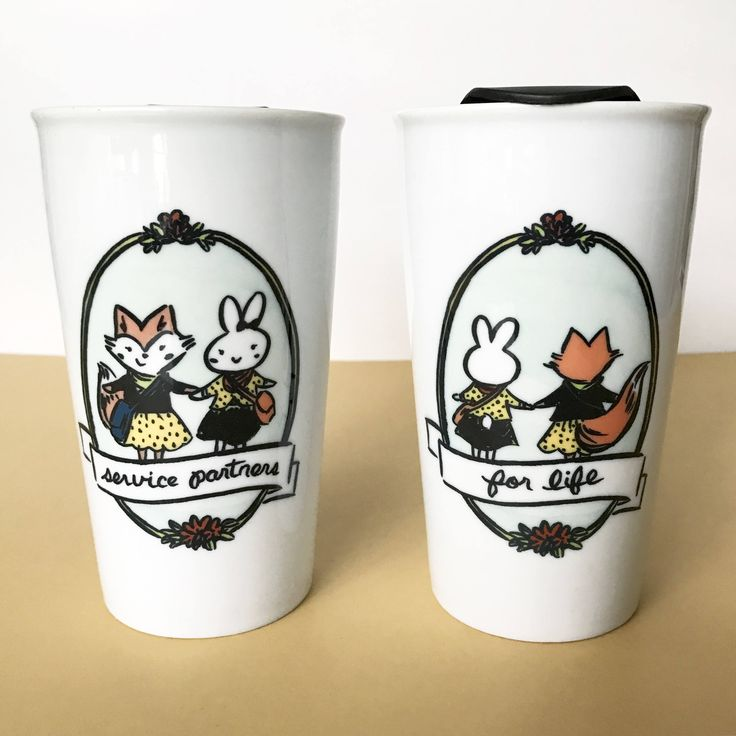 Best Friends Service Partners For Life 12 oz Ceramic Travel Mug, Fox and Bunny, JW Pioneer Gift, Jehovah's Witnesses, Pioneer School Gift by SeasonedWSalt on Etsy