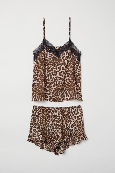 Pyjamas med linne och shorts - Beige Leopardmönstrad - DAM  a09e2eb75bca0