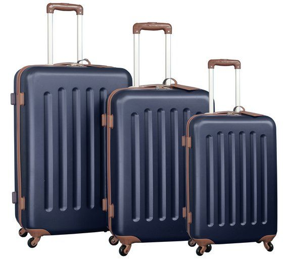 Buy Go Explore 4 Wheel Small Hard Suitcase - Navy and Tan at Argos.co.uk, visit Argos.co.uk to shop online for Cabin luggage, Bags, luggage and travel, Sports and leisure