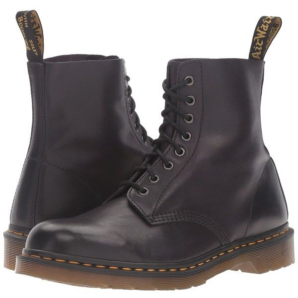 Dr. Martens Pascal 8-Eye Boot (Gothic Purple Antique Temperley)... ($135) ❤ liked on Polyvore featuring shoes, boots, ankle boots, laced ankle boots, lace up bootie, bootie boots, gothic platform boots and lace-up platform boots