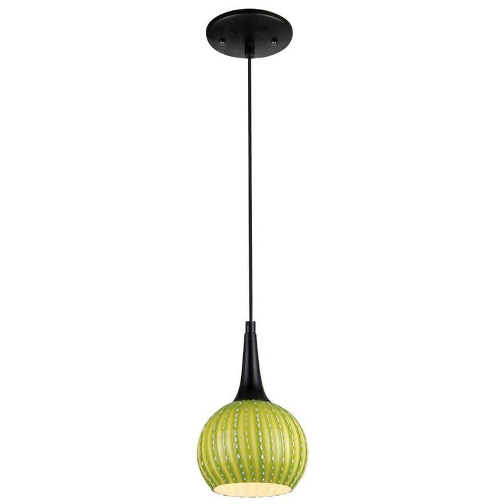 Westinghouse 1 Light Black Adjustable Mini Pendant With Hand Blown Green Glass Shade