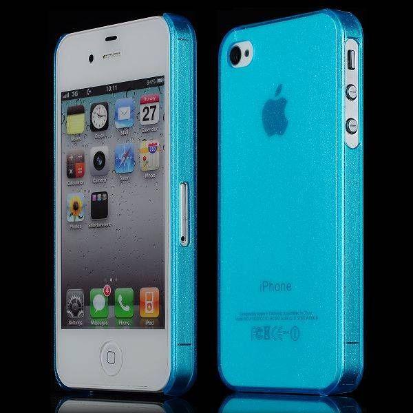 Transparant blauw stijlvol hardcase hoesje voor de iPhone 4 / 4s