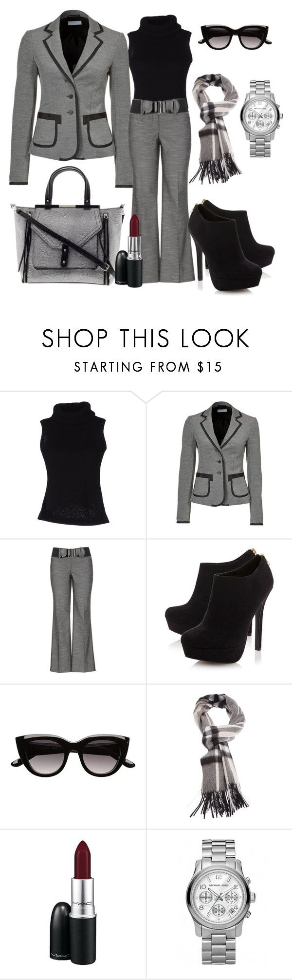 """""""Dia de reunião!"""" by cristinacordeiro ❤ liked on Polyvore featuring Y-3, Strenesse Blue, Rebecca Minkoff, Head Over Heels by Dune, Witchery, Burberry, MAC Cosmetics and Michael Kors"""