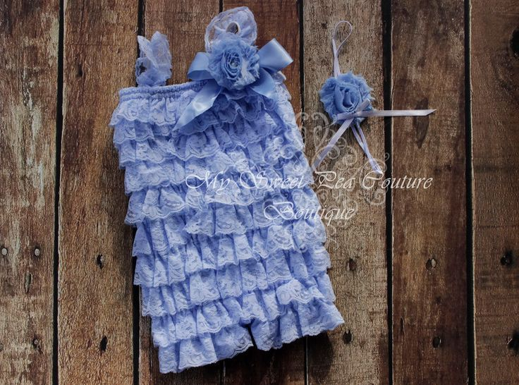 Light Blue Embelished Lace Petti Romper & Headband Set - Ruffle Romper Set- Romper- Baby Petti Romper- Headband- Photo Prop- Birthday Outfit by MySweetPeaCouture on Etsy