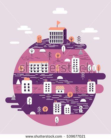 Vector round landscape illustration on violet background #vector #illustration #flat #design #art #cartoon #shutterstoke #creativemarket