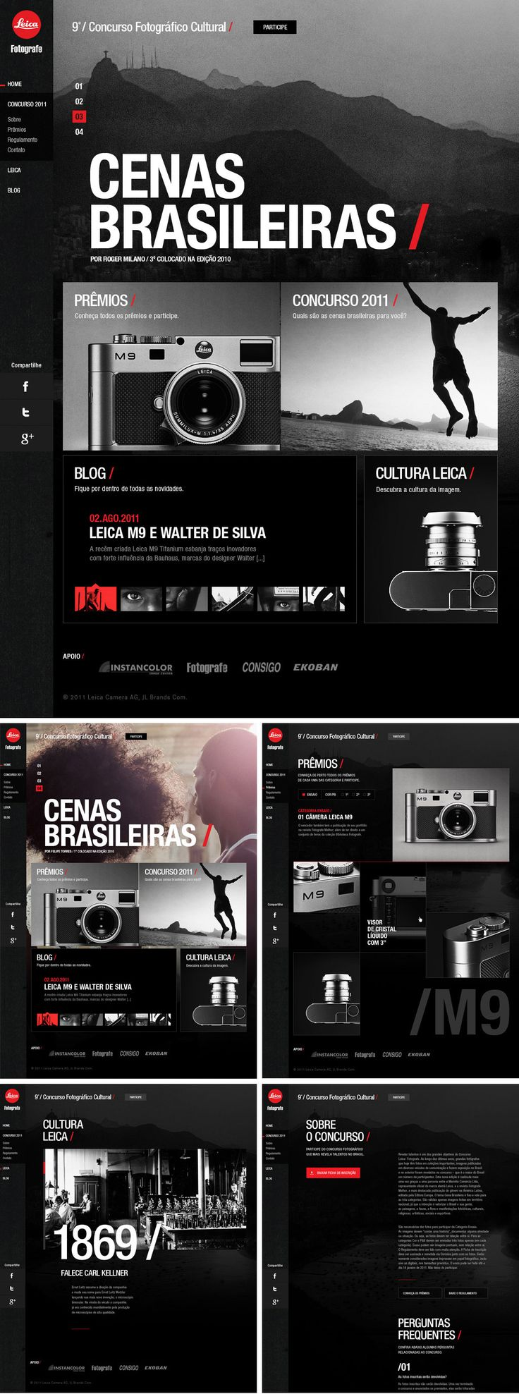 Augusto Paiva / Leica Photo Contest 2011   Website / http://cargocollective.com/augustopaiva/Leica-Photo-Contest-2011    black, red, photography, website, navigation, minimal