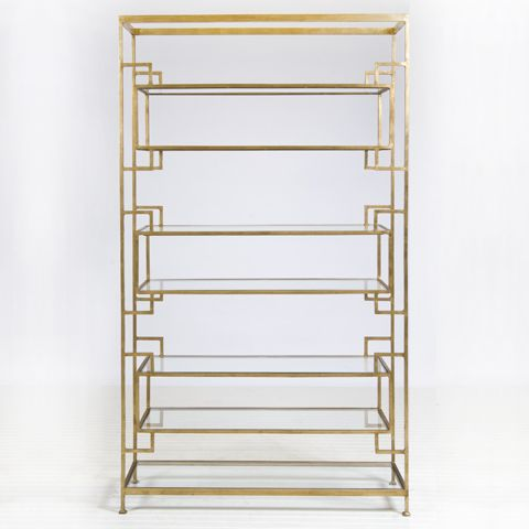 "Lamar Gold Leafed #Etagere  8 shelf umber finished gold leaf etagere with glass shelves. Top, bottom and inset shelves are 9""h, two central shelves are 11.5""h.  #WorldsAway #Furniture"