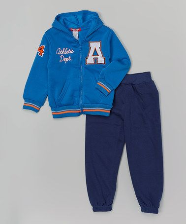 Look what I found on #zulily! Royal 'A' Zip-Up Hoodie & Pants - Infant, Toddler & Boys by Teddy Boom #zulilyfinds