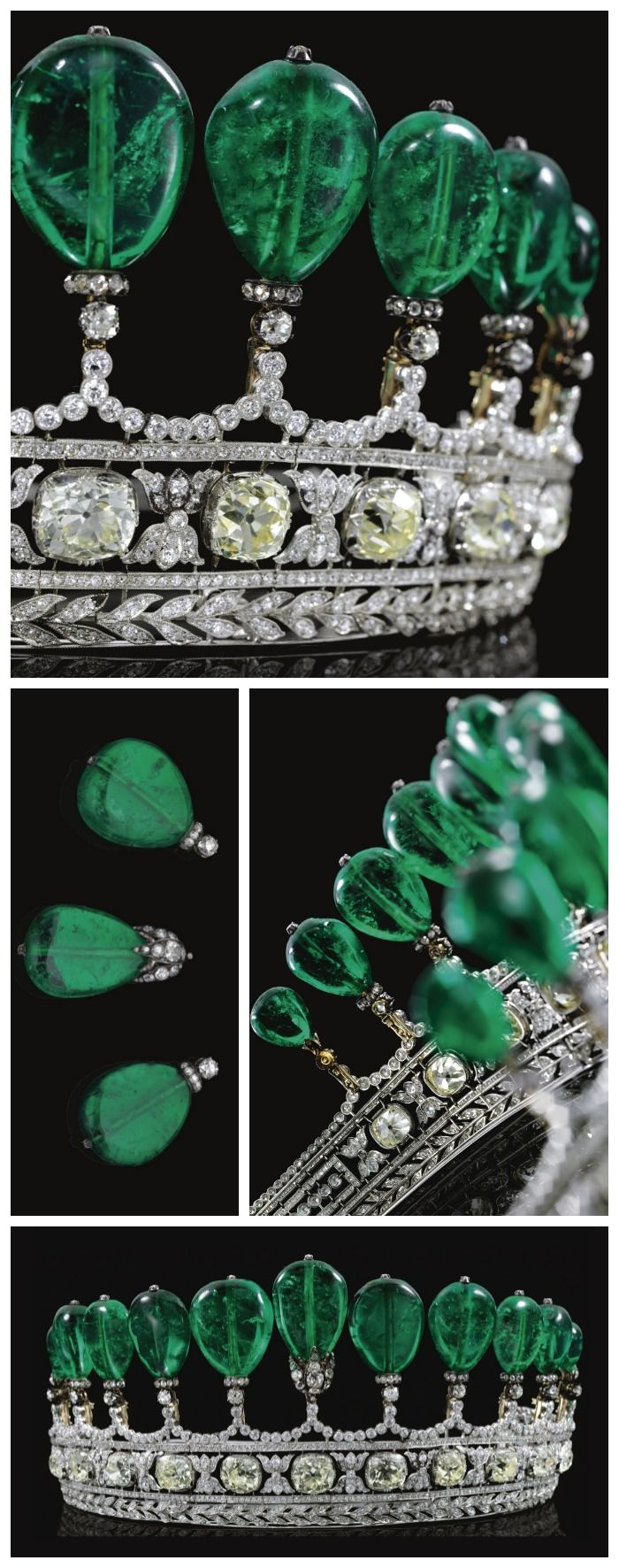Multiple views: Magnificent and rare antique emerald and diamond tiara, circa 1900. Previously owned by Princess Katharina Henckel Von Donnersmarck. Via Diamonds in the Library.