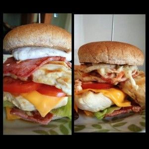 you have to unhinge your jaw to eat these amazing double bacon chicken burgers :-) which are only 2 syns on extra easy if using HEA for cheese and HEB for the rolls
