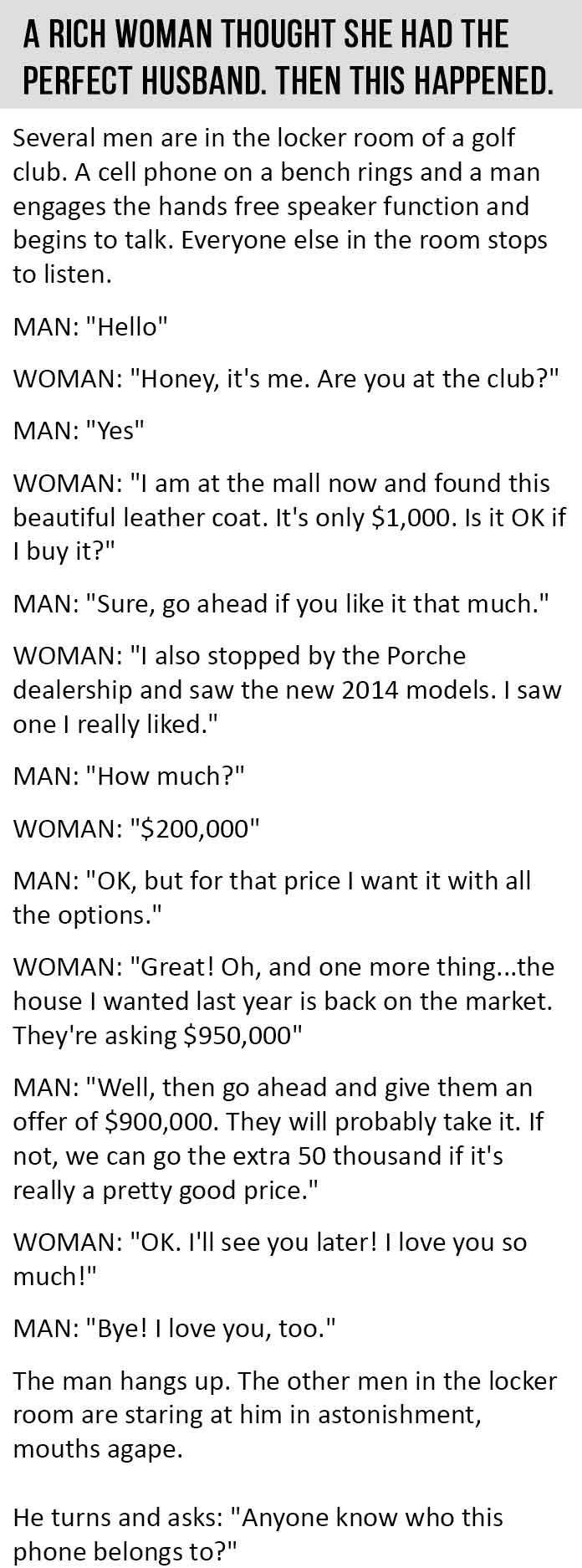 A Rich Woman Thought She Had The Perfect Husband Then This Happened funny quotes quote jokes