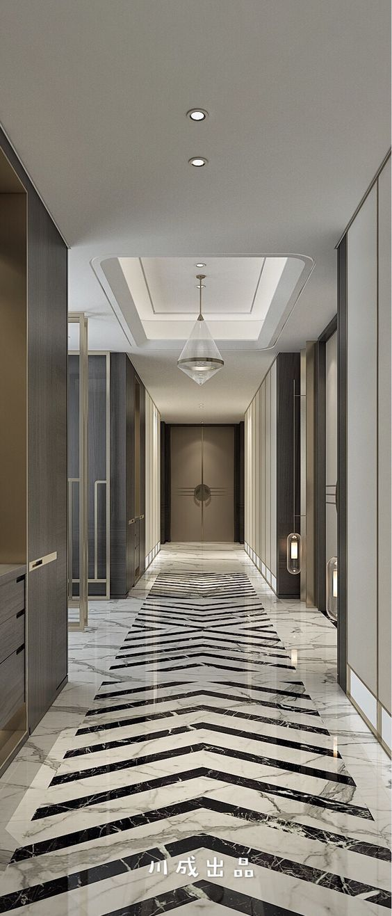 Corridor with classical details with chevron floor pattern